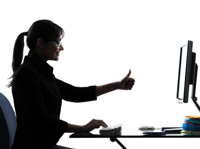 business woman computer computing  thumb up satisfied silhouette